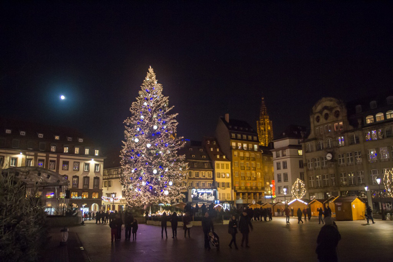 The tallest decorated Christmas tree in Europe at Strasbourg, north east France