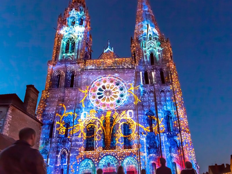 Gothic cathedral of Chartres lit up at night