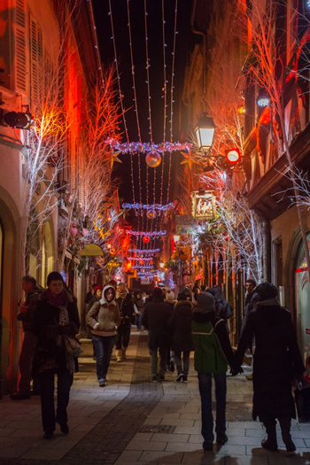 Beautifully decorated street in Strasbourg France at Christmas