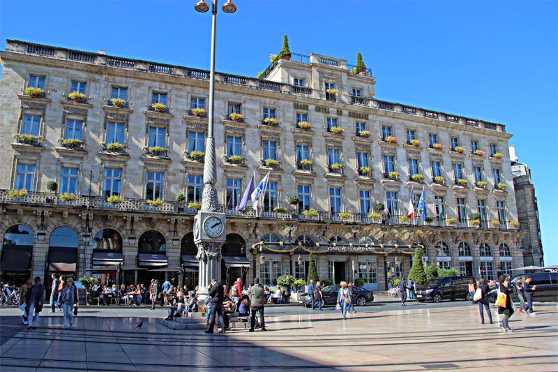 Huge square of Place de la Comedie, Bordeaux a grand open space criss crossed by tram lines