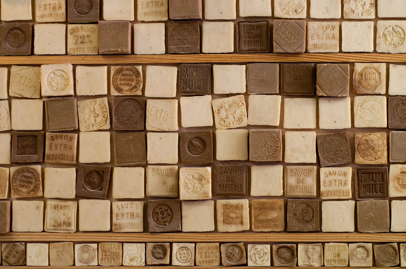 Hundreds of bars of Marseille soap, famous for its natural qualities