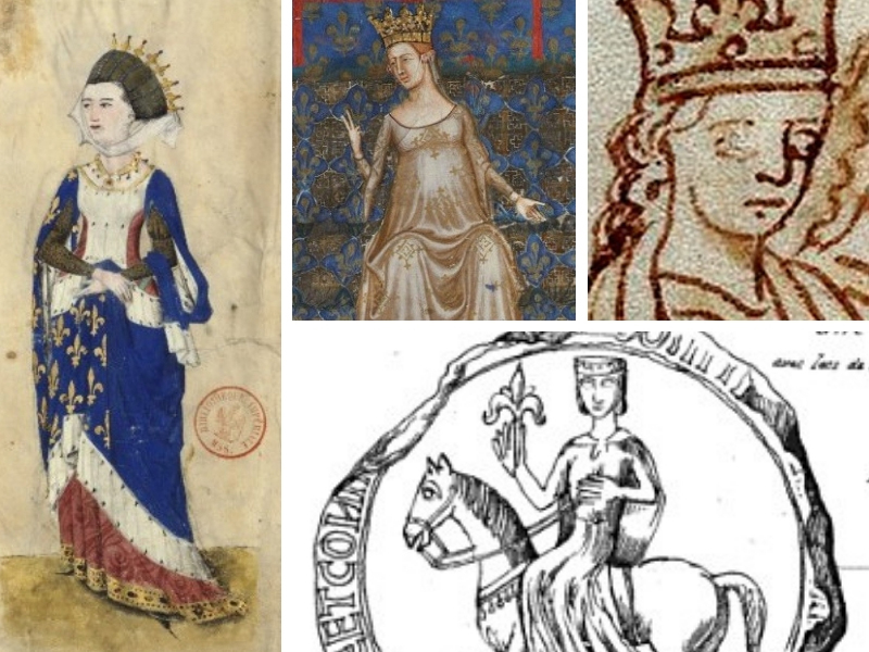 Ancient paintings and drawing of 4 women in queenly attire, wearing crowns
