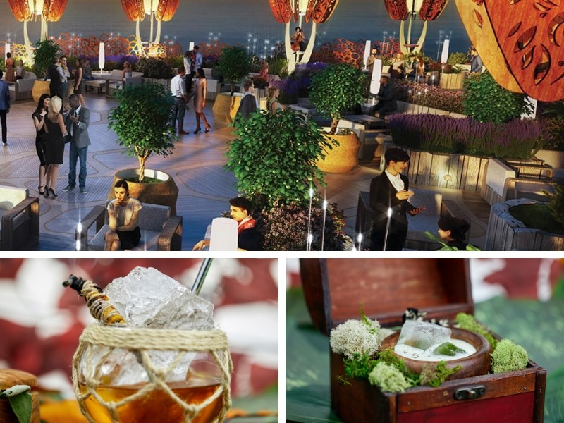 Roof top garden on a ship where people sip cocktails