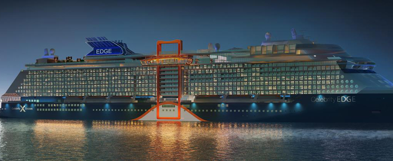 A cruise ship at dusk, it's lights glowing on several floors of outward windows