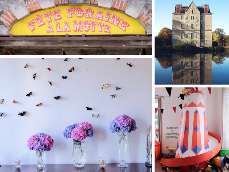 Paper butterflies on a wall, a children's helter skelter and a tall, pretty chateau reflected in a lake