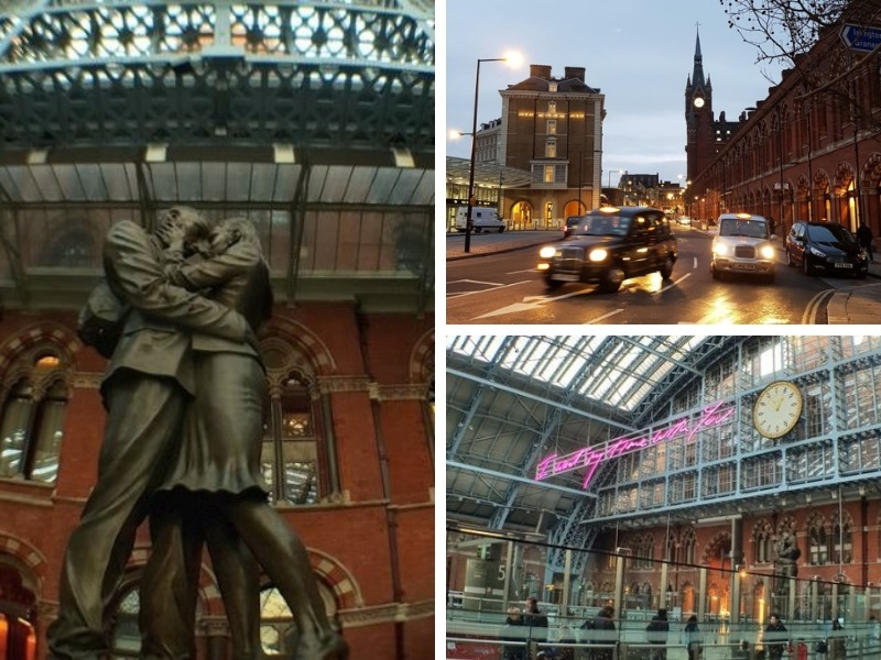 Exterior of St Pancras train station London, a huge red brick building and a statue inside of man and woman kissing