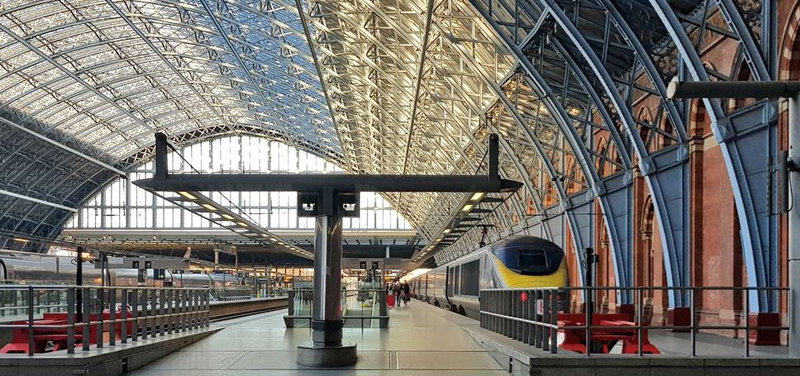 Empty train platform at St Pancras train station London with a Eurostar train waiting to depart