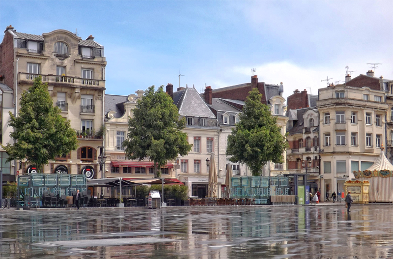 Large square in the town centre of St Quentin in northern France
