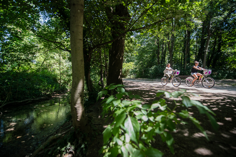 Woman and girl cycle under a canopy of green leaves along a canal