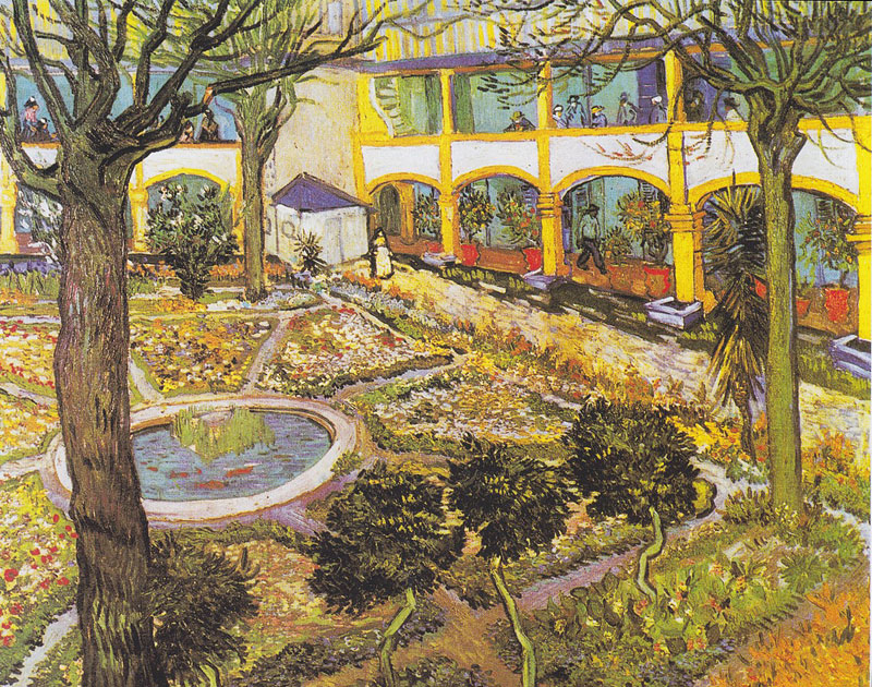 Painting by Van Gogh of the garden at the hospital of Arles, Provence