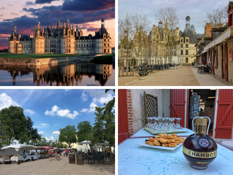 Small village with shpps, wine bar, hotel and restaurants at the Chateau de Chambord