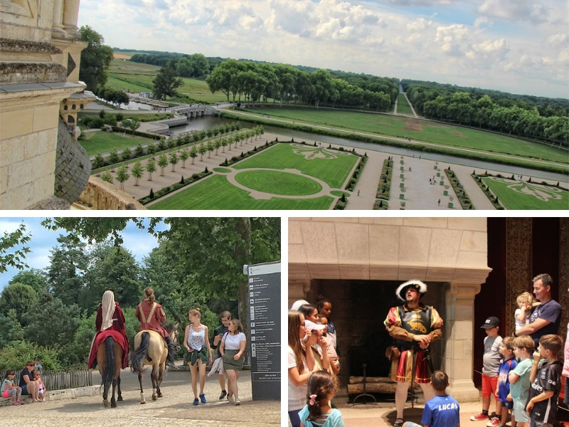 Formal gardens with hedges and lines of trees, riders on horseback in costumes of 16th century