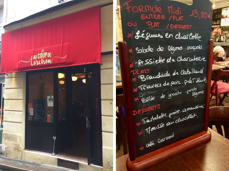 restaurant front and menu in Paris, Au Coup de Torchon, an authentic style bistro