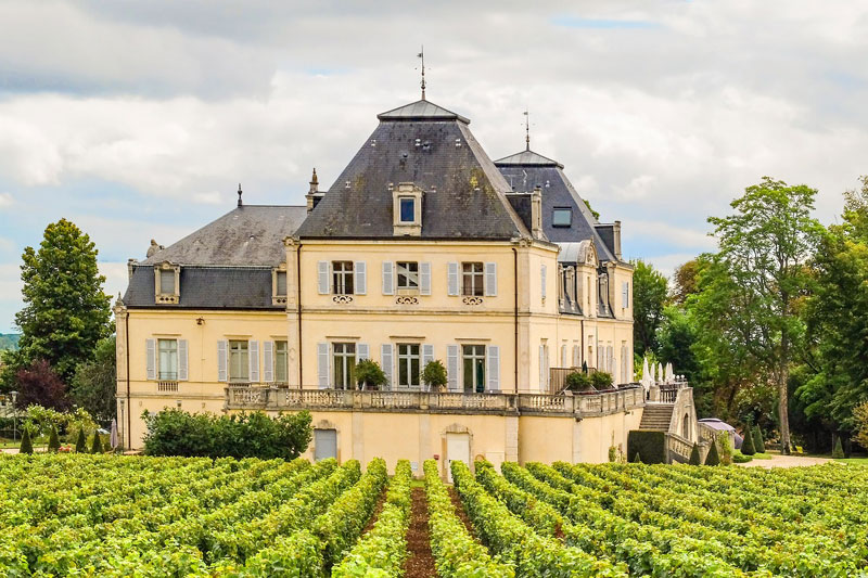 Chateau with wooden shutters in the middle of a vineyard in Burgundy