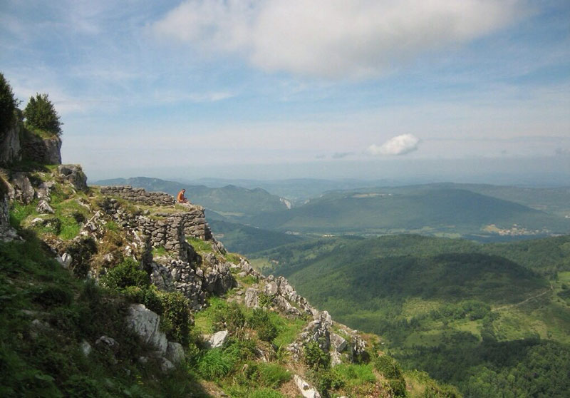 View over a dramatic valley in southern France, ruins of ancient castles long ago destroyed