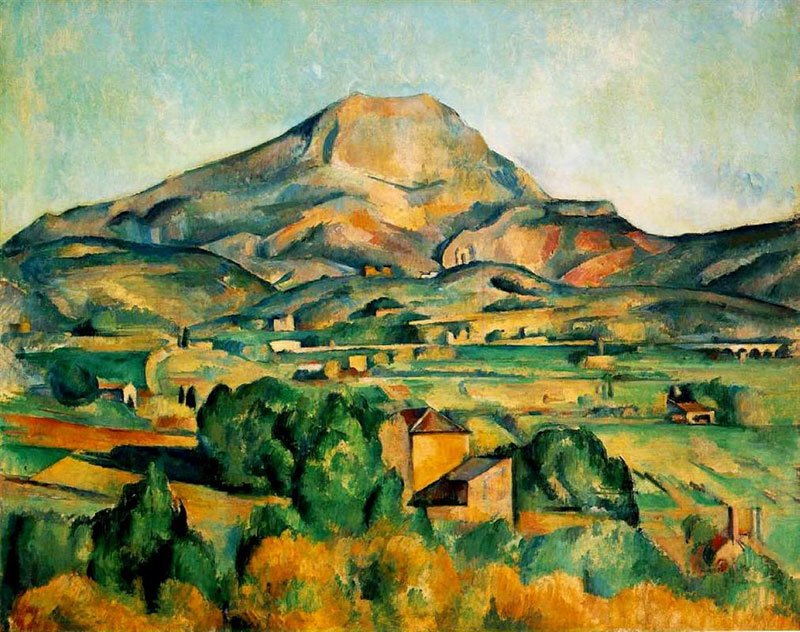 Painting of the Mountain of Sainte Victoire, Provence by Paul Cezanne lots of orange and green pigment