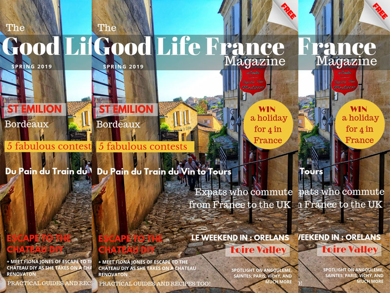 Front cover of The Good Life France Magazine Spring 2019 showing a hilly street in Saint Emilion Bordeaux