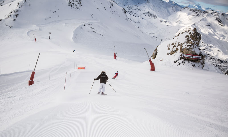 People skiing on a very snow mountain in Meribel, France
