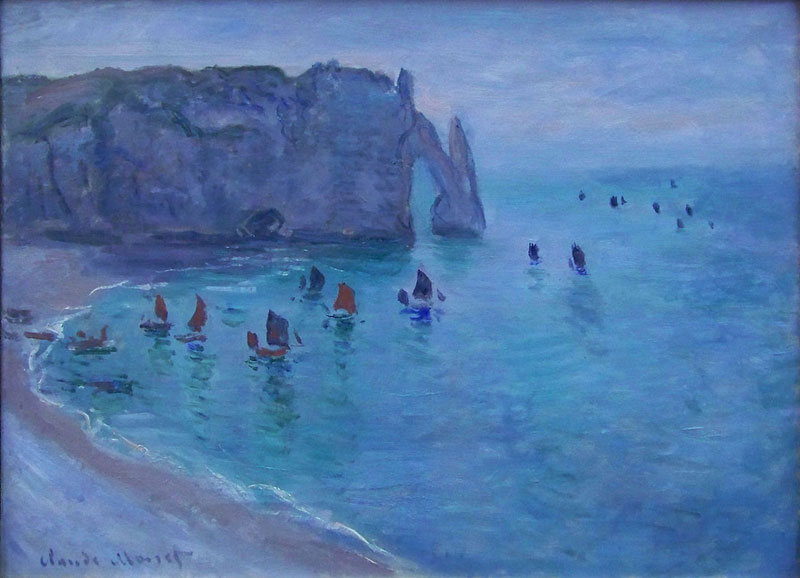 One of Monet's paintings of Etretat, Normandy, all blues with a dab of red