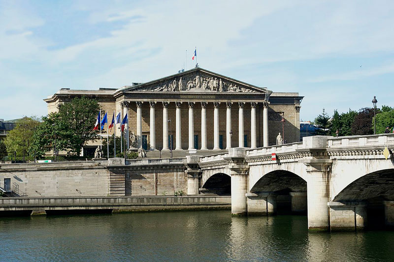 The Palais Bourbon building, very ancient Green in style, where the French parliament meet in Paris
