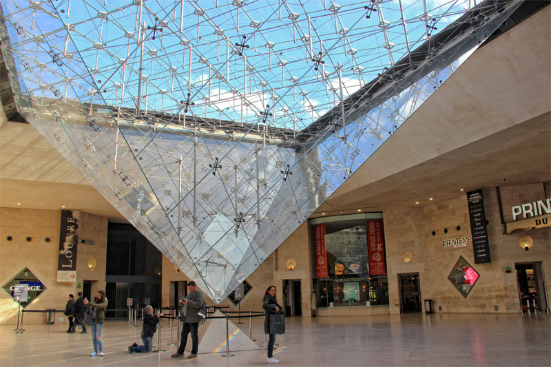 Introverted pyramid at the Louvre shopping centre Paris