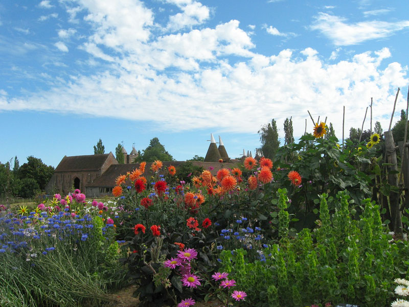 Oast houses and English country style house in a gorgesou garden of blooms, Sissinghurst, Kent