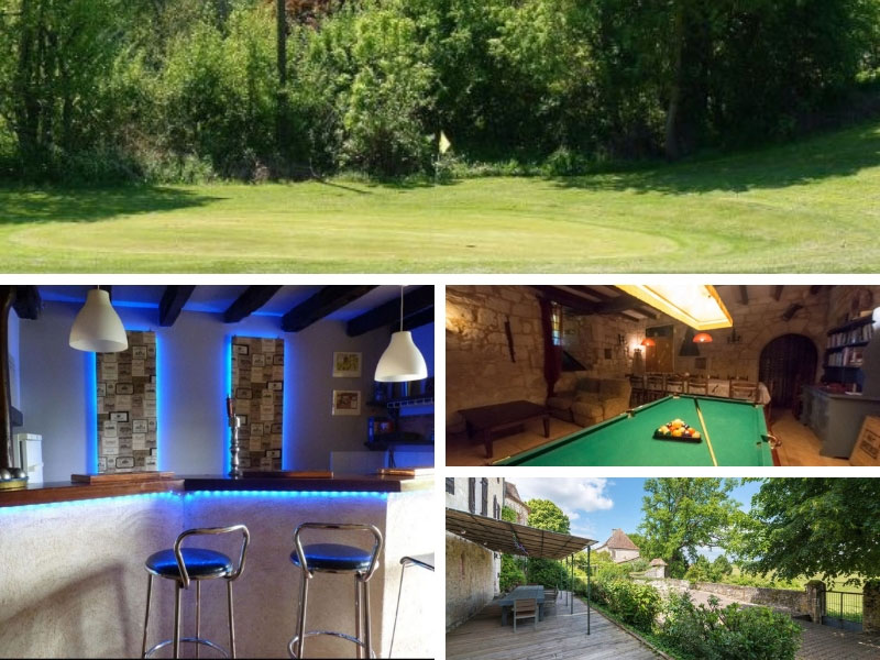 Golf course, mood lighting at a small bar, billiards table and beautiful terrace at a chateau holiday home in Dordogne