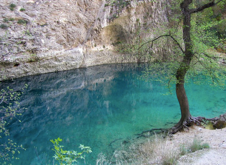Almost jewel-like turquoise waters of the river Sorgue