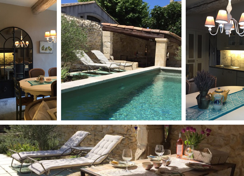 A medley of photos showing a holiday home in Provence, pool, relaxing chairs and beautiful interior