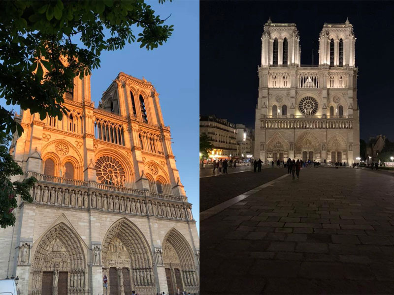 Two photos of Notre Dame Cathedral, the most visited monument in Europe before it was damaged by fire
