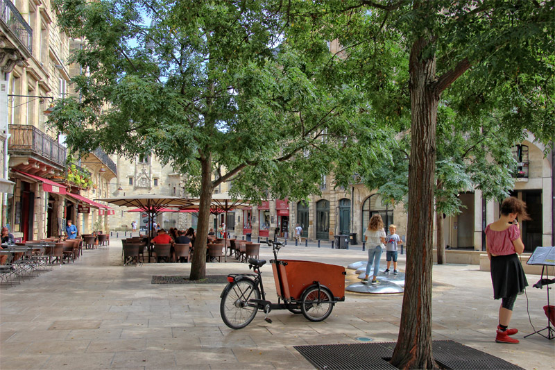 Elegant square lined with old buildings in Bordeaux city with shady trees and people eating outdoors