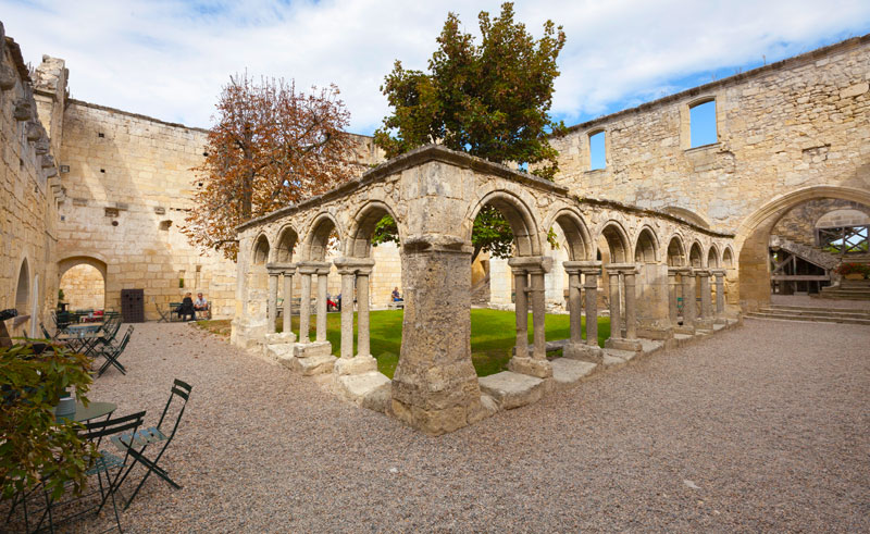 ancient stone cloisters of an old church in Saint Emilion