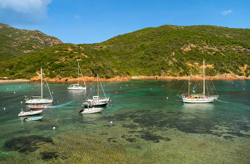 The green hills of Corsica against a blue sky and crystal clear water of the Med, tiny boats bob on the glass-like surface