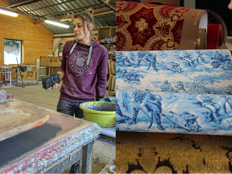 Woman holding a printing block demonstrates how wallpaper is made to centuries old traditions in Tours