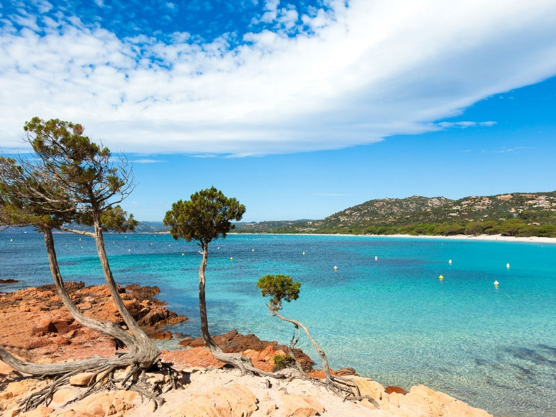 Secluded and empty bay on Corsica island of France with crystal clear Mediterranean sea and golden sand