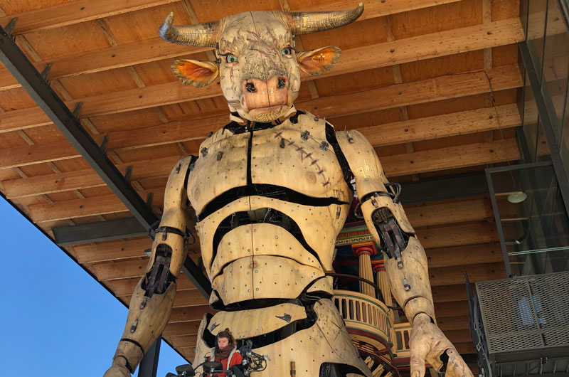 A giant wooden Minotaur with the bluest of eyes in Toulouse