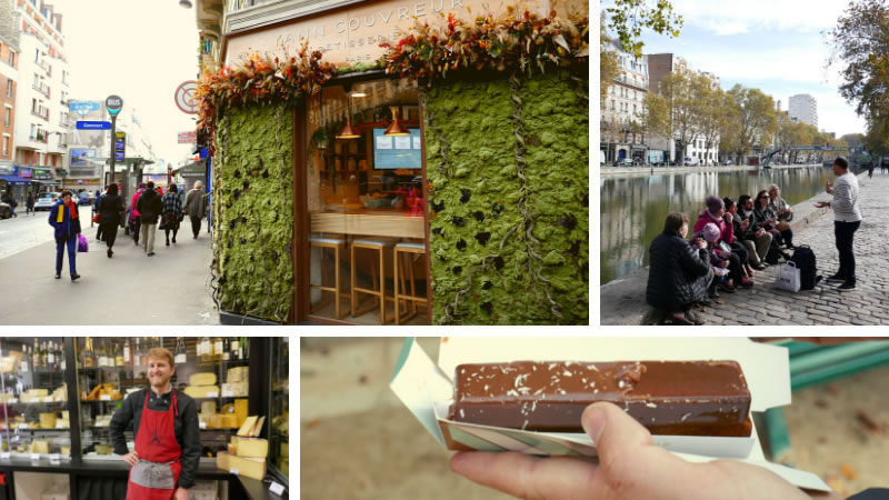 Medley of photos of Paris cakes, shops and tasting tour group