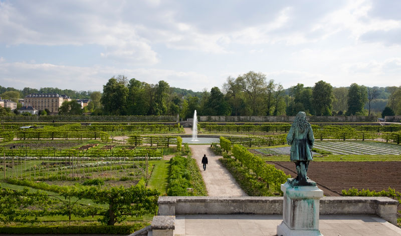 View over the famous and historic Potager du Roi, the vegetable garden of Louis XIV, King of France