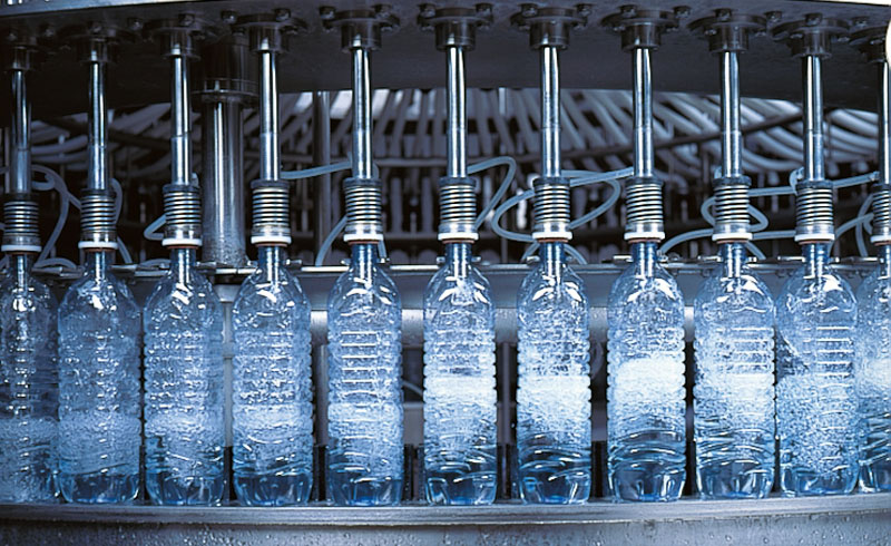 Bottling machine at the Volvic factory