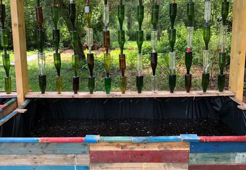 Rain collector made from recycled bottles, an art work at Les Hortillonnages Amiens