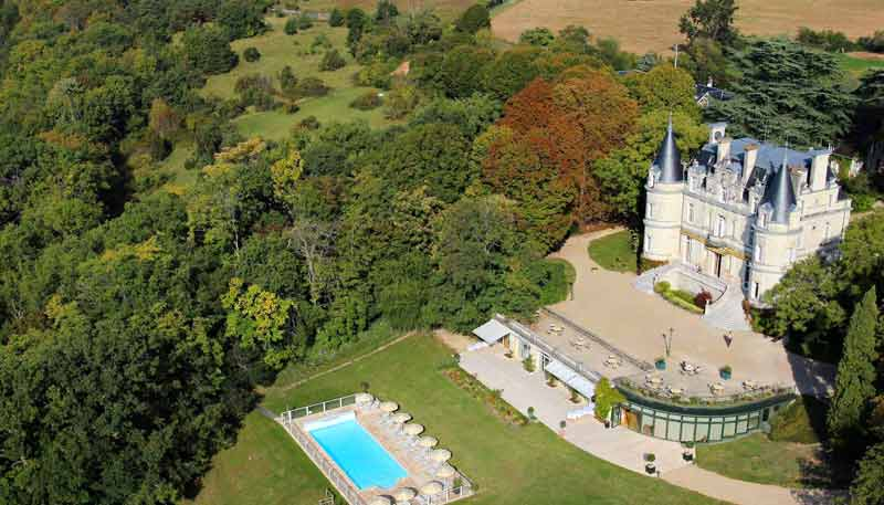 Aerial view of a castle hotel in the Loire Valley