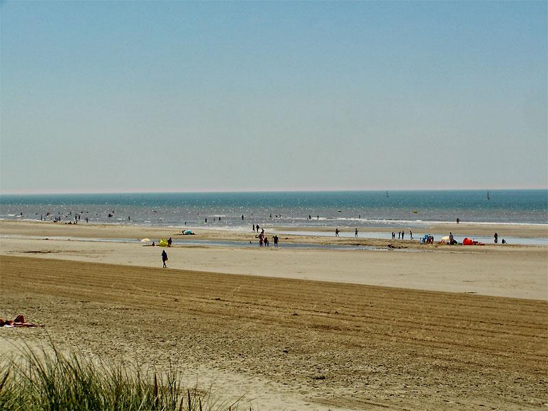 Very long golden sandy beach under a cloudless sky, calm waves at Hardelot, Opal Coast, northern France
