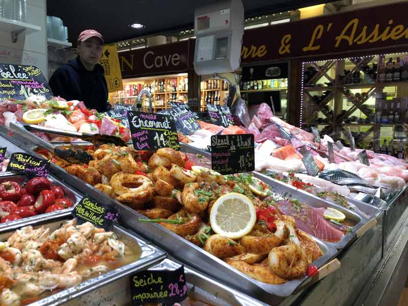 Market stall piled high with fish at La Rochelle market