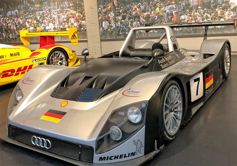 Silver coloured Audi racing car of Team Joest, at Mulhouse Car Museum, France