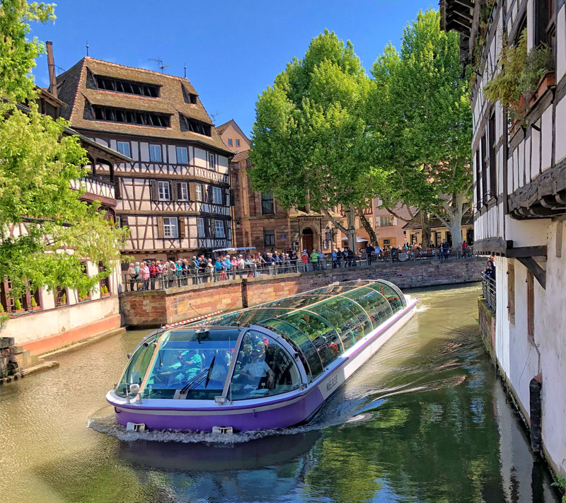Cruise boat on the River Ill Strasbourg