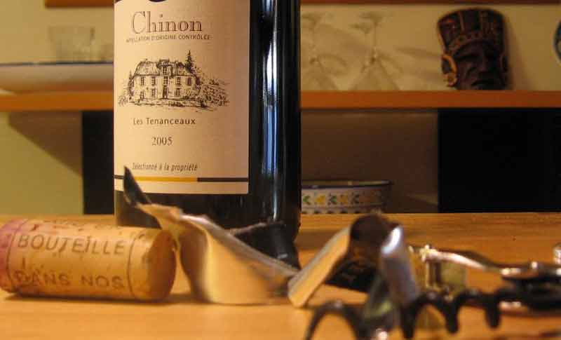 Bottle of wine with a Chinon, Loire Valley labelo