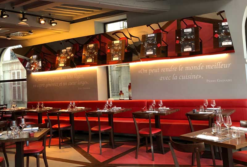 Inside restaurant Brasserie by Georges Blanc at Pre Aux Clercs, Dijon - vibrant colours and very elegant