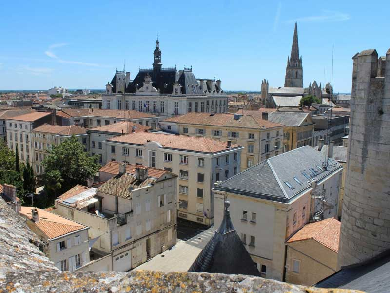 Rooftops and church steeples of the town of Niort in Deux-Secvres in France