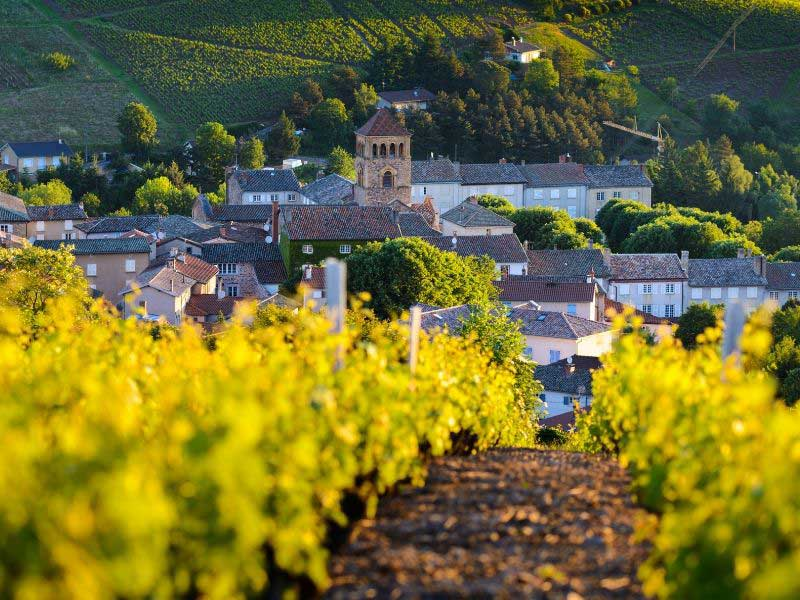 Rolling hills and vineyards surround a tiny village in Beaujolais, Burgundy, France