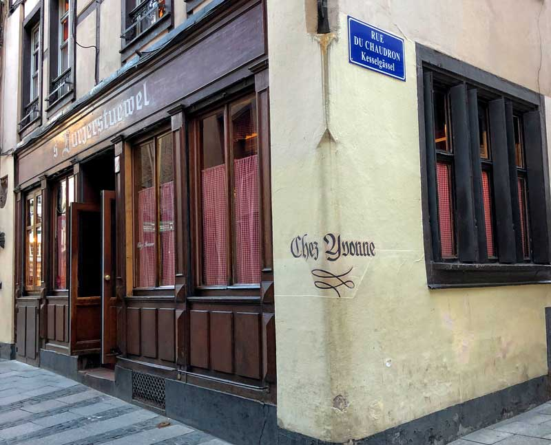 Facade of famous traditional Alsatian restaurant Chez Yvonne in Strasbourg